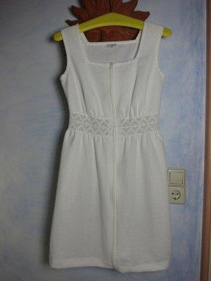 Weiß Frottee Kleid Größe S Spitze Zip HANRO Switzerland Siesta Minikleid Sommerkleid - True Vintage