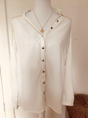Weiß goldene Bluse mit Sternen Promod
