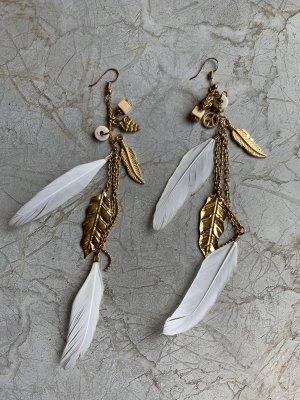 Weiß-Goldene Feder Statement Ohrringe / Ohrhänger