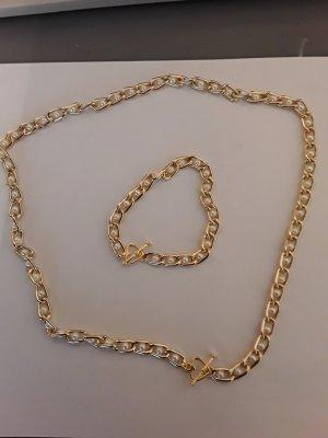 Weiß goldene Kette mit Armband