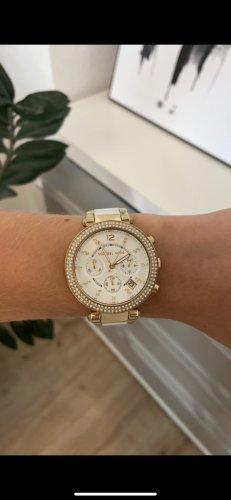 Weiß goldene Michael Kors Uhr