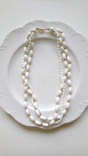 Naszyjnik z perłami biały-złoto