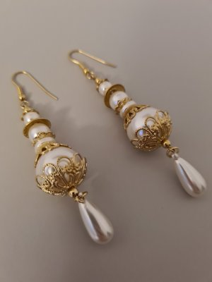 Vintage Pareloorbellen wit-goud