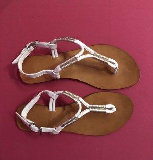 Weiß goldene Sandalen