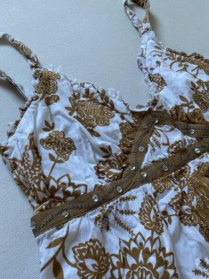 Basic Line Sukienka na ramiączkach biały-ochra Bawełna