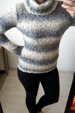 Weiß grau gestreifter Rollkragen Stick Pullover