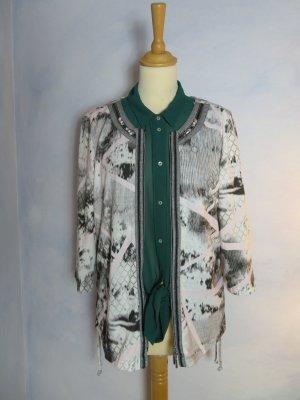 Weiss Grau Just White schöne Blusen Jacke - Strass Verzierung - leichte Jacke - Mustermix