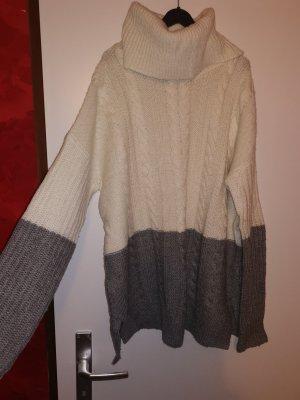 BODY FLIRT Sweter z golfem biały-szary
