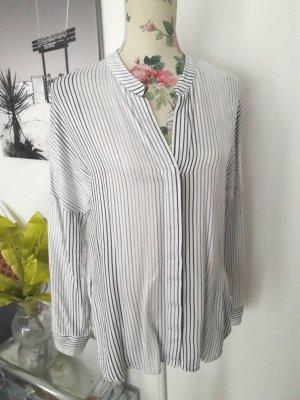 Weiß-graue Business Bluse mit Streifen von Zara