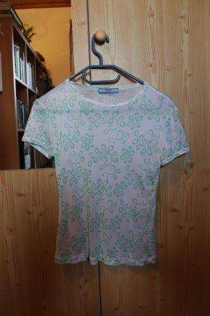 Prada T-shirt blanc-vert clair acétate
