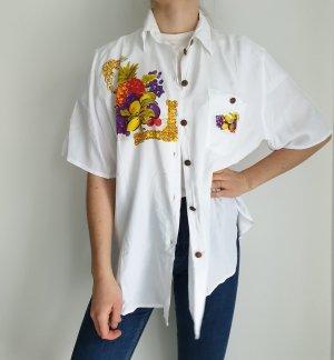 weiß Hemd True vintage Bluse oversize pulli pullover top Shirt