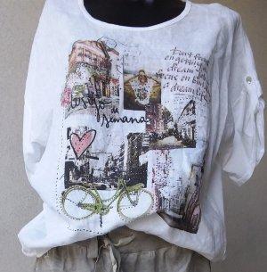Weiß, Lang, Lein-Bluse
