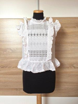 Weiß Lochmuster Stickerei Bluse von Zara, Gr. M (NEUw.)