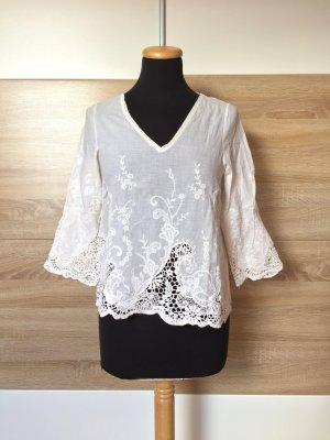 Weiß Lochmuster Stickerei Bluse von Zara, Gr. S