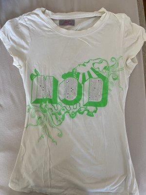 Weiß/ neongrünes Strassshirt von MoD