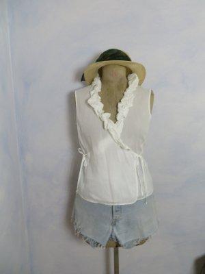 Weiß Robert Friedman Wickelbluse Rüschen - Größe S - 100% Baumwolle Batist Bluse