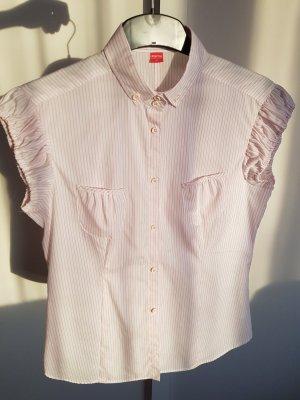 Weiß-rosa gestreifte kurzärmelige Bluse von Eterna Excellent, Größe 40,NEU