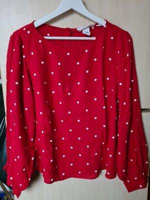 Weiß-rot gepunktete Bluse