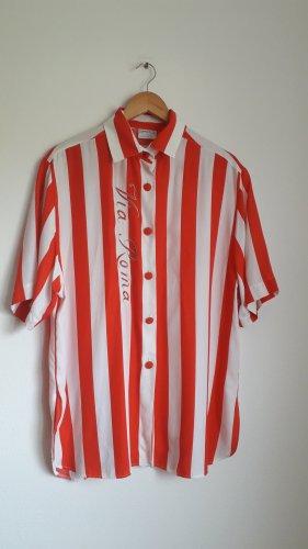weiß rot gestreifte vintage Bluse viscose