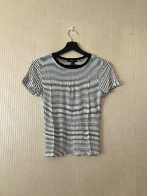 Weiß schwarz gestreiftes T-Shirt 90s Style