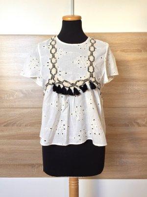 Weiß schwarz Lochmuster Bluse von Zara, Gr. XS