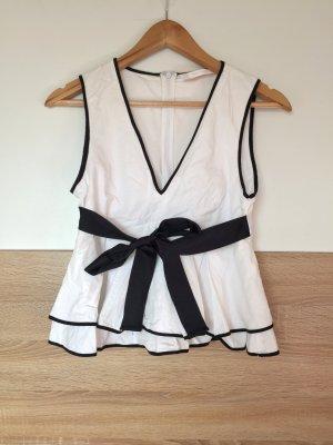Weiß schwarz Schleife Peplum Bluse von Zara, Gr. S