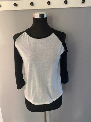 Weiß/schwarzes Langarmshirt, Gr. S