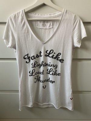 Weiß schwarzes T-Shirt mit Glitzer von True Religion M 38
