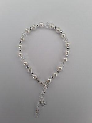 Weiß silbernes Perlen Armband