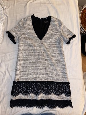 weiß/silbernes Twinset Tweed-Kleid