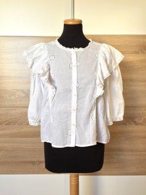 Weiß Stickerei Lochmuster Bluse von Zara, Gr. L
