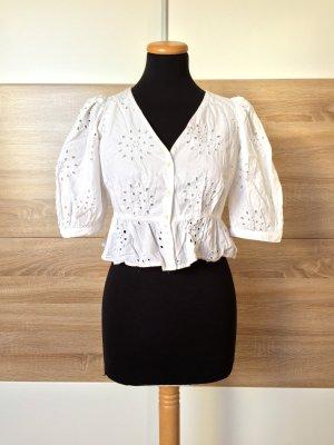 Weiß Stickerei Lochmuster Bluse von Zara, Gr. XS