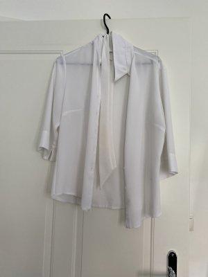 Weiße 3/4 Bluse mit Schleife