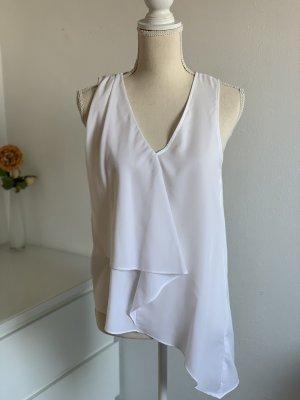 Weiße Ärmellose Bluse mit V-Ausschnitt von H&M Gr. 36