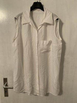 Weiße ärmellose Vintage Bluse in Größe 44/46