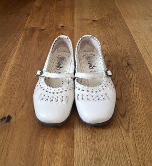 Weiße Ballerinas Sandalen Leder