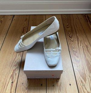 Jimmy Choo Ballerina di pelle verniciata bianco Pelle