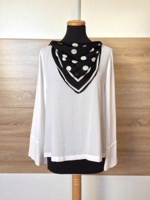 Weiße Basic Bluse mit Halstuch von Zara, Gr. S (NEU)