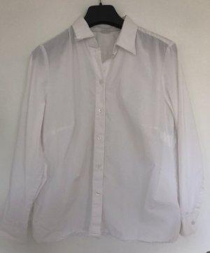 Weiße Basic Bluse Walbusch leicht durchsichtig 44 tailliert