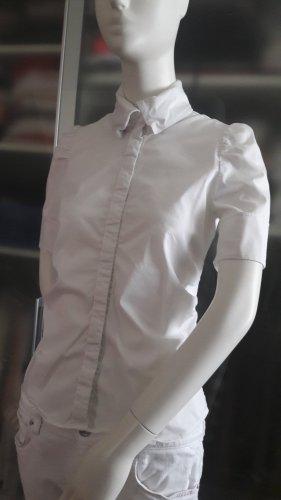 weiße Baumwoll-Bluse mit Puffärmel