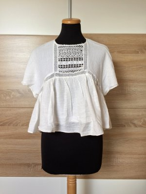 Weiße Baumwoll Lochmuster Bluse von Zara, Gr. M (NEU)