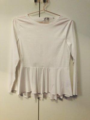 weiße Baumwolle Bluse mit Stößchen