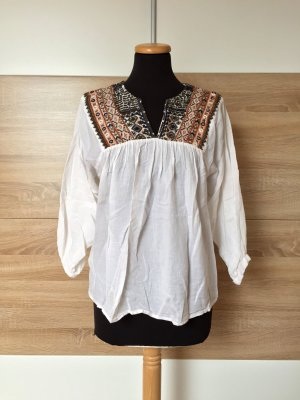 Weiße Baumwolle Stickerei Bluse von Zara, Gr. S (NEUw.)
