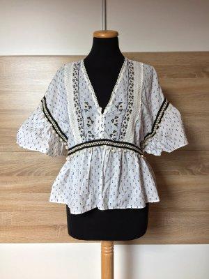 Weiße blau Punkte Stickerei Baumwolle Bluse von Zara, Gr. M