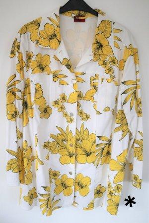 Weiße Blazerjacke mit gelbem Blumendruck