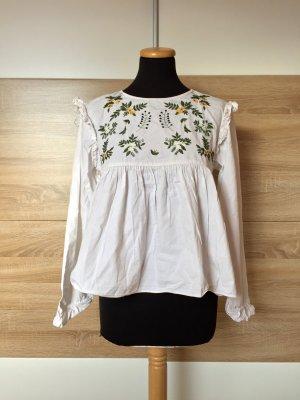 Weiße Blumen Stickerei Bluse von Zara, Gr. M