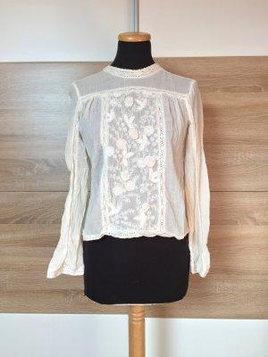 Weiße Blumen Stickerei Bluse von Zara, Gr. S (NEUw.)