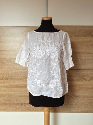 Weiße Blumen Stickerei Leinen Bluse von Zara, Gr. XS (NEUw.)