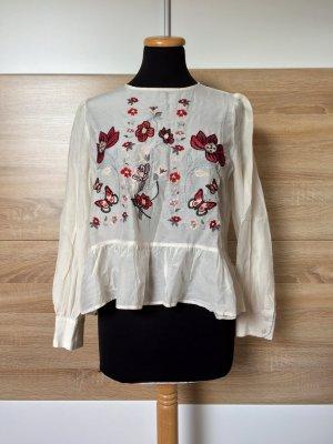 Weiße Blumen Stickerei Seide Bluse von Zara, Gr. M (NEU)