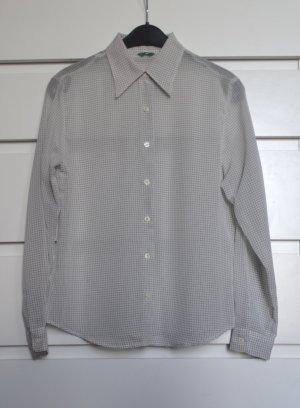 Weiße Bluse fein schwarz kariert